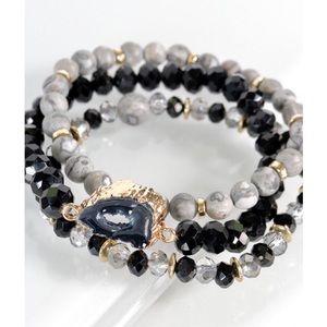 Black natural stone glass bead bracelet set